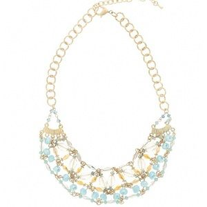 Gold tone beaded statement necklace